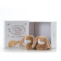 Hazeltje babyschoentjes met rammelaar 0-6 maanden (6x in doos)