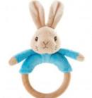 Peter Rabbit rammelaar/bijtring 18cm blauw/roze (12x in display)