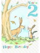 Hazeltje dubbele kaart jongen 2 jaar 14x20cm (6x in verpakking)